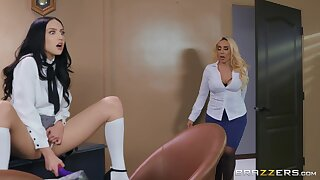 Jade Baker coupled with Kylie Kingston in incongruous lesbian intercourse scene