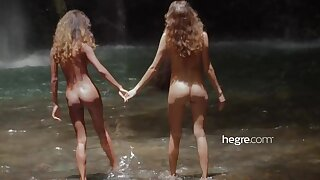 Teen Girls Naked in Bali Waterfall