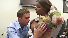 Chunky Tits Ebony Boss Candice Nicole Blackmail Sickly Boy to Fuck her at Work