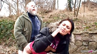 Ugly Grandpa Has Outdoor Sex with Cute Schoolgirl of Cash