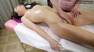 Russian coddle Adelyn Abbe gets their way massage orgasm