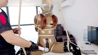 Comely Asian latex schoolgirl DOVE, rope bondage and air play