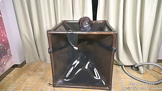 Latex vacuum box and gas mask, breath control