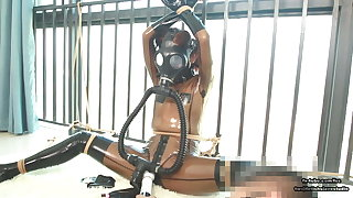 Cute Japanese latex girl, chain subjugation and gas mask breathplay