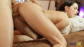 OLD4K. Lovemaking of young gal and dad begins with oral