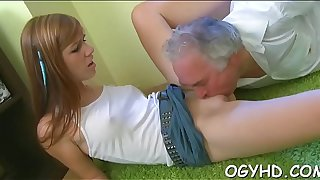 Hazardous young girl drilled by old rod