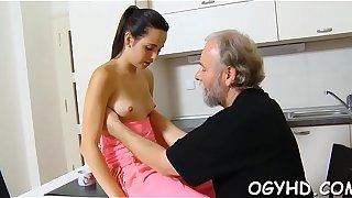 Outlandish old lad licks young pussy