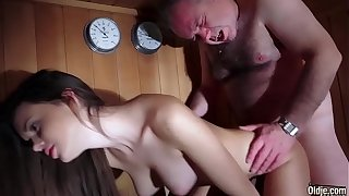 Dad Fucked Incomparable Virgin Young Pussy Gives Blowjob and Swallows the Cum