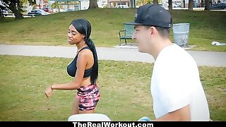 TheRealWorkout - Curvy Nefarious Rides White Cock After Workout