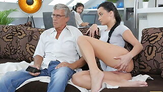 DADDY4K. Aroused cutie permits BF's daddy to fuck her enterprising pussy